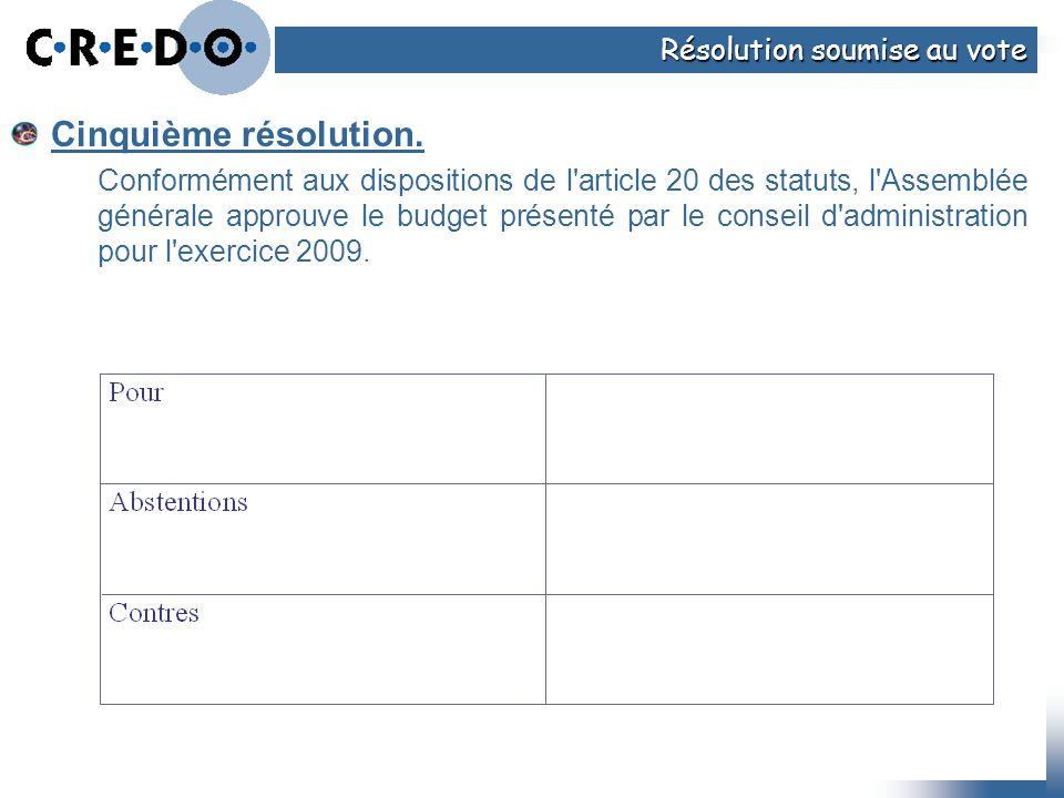 Cinquième résolution. Conformément aux dispositions de l'article 20 des statuts, l'Assemblée générale approuve le budget présenté par le conseil d'adm