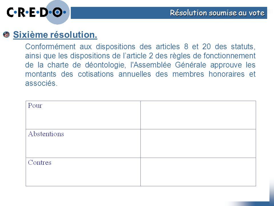 Sixième résolution. Conformément aux dispositions des articles 8 et 20 des statuts, ainsi que les dispositions de larticle 2 des règles de fonctionnem