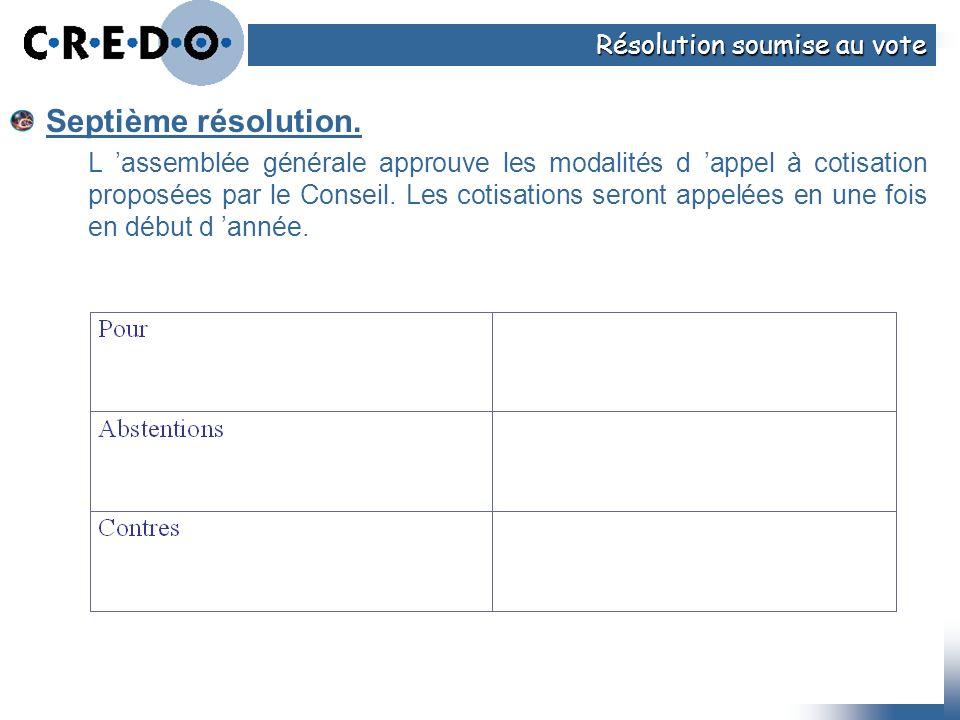Septième résolution. L assemblée générale approuve les modalités d appel à cotisation proposées par le Conseil. Les cotisations seront appelées en une