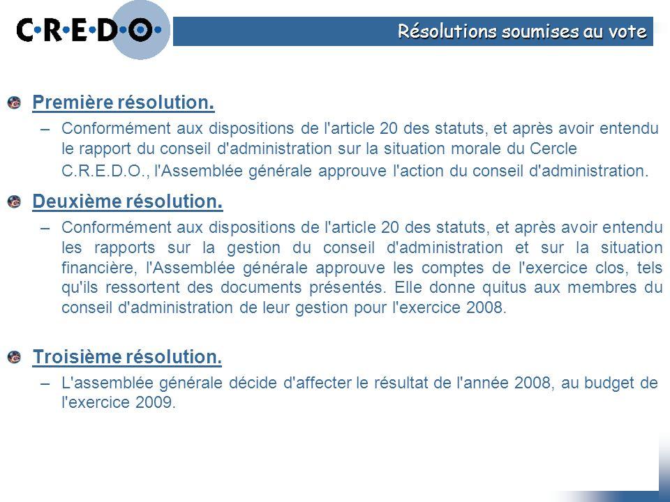 Première résolution. –Conformément aux dispositions de l'article 20 des statuts, et après avoir entendu le rapport du conseil d'administration sur la
