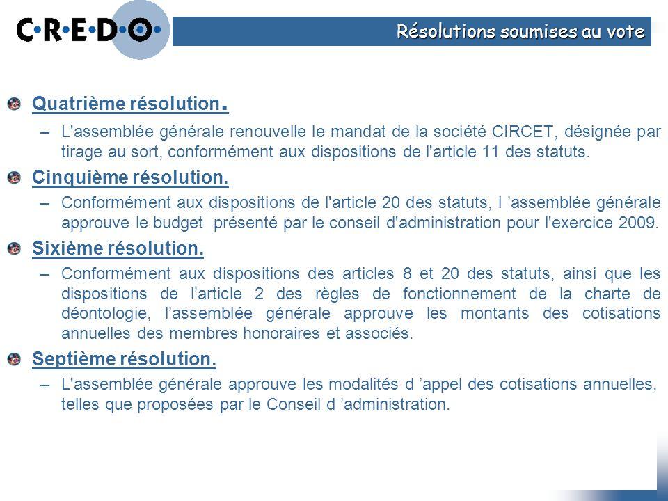 Quatrième résolution. –L'assemblée générale renouvelle le mandat de la société CIRCET, désignée par tirage au sort, conformément aux dispositions de l