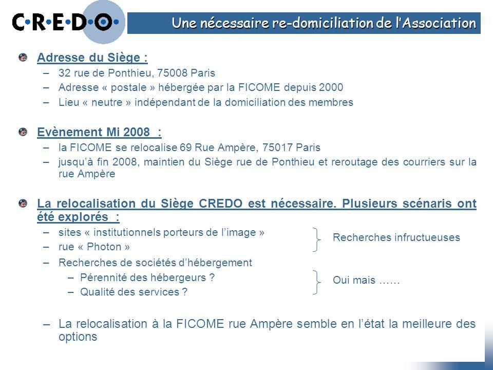 Adresse du Siège : –32 rue de Ponthieu, 75008 Paris –Adresse « postale » hébergée par la FICOME depuis 2000 –Lieu « neutre » indépendant de la domicil