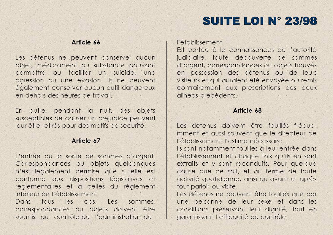Article 66 Les détenus ne peuvent conserver aucun objet, médicament ou substance pouvant permettre ou faciliter un suicide, une agression ou une évasion.