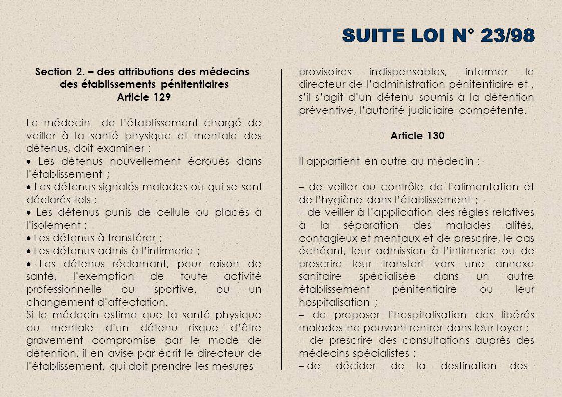 Section 2. – des attributions des médecins des établissements pénitentiaires Article 129 Le médecin de létablissement chargé de veiller à la santé phy