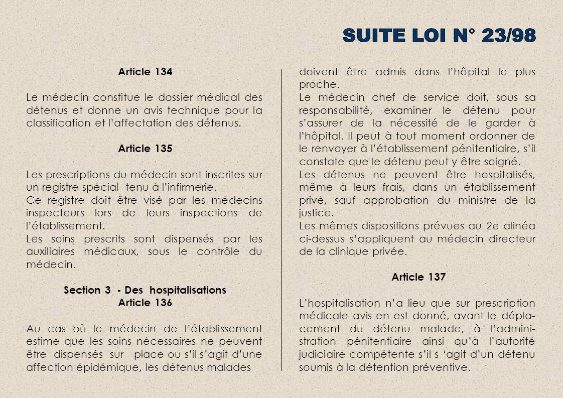 Article 134 Le médecin constitue le dossier médical des détenus et donne un avis technique pour la classification et laffectation des détenus. Article