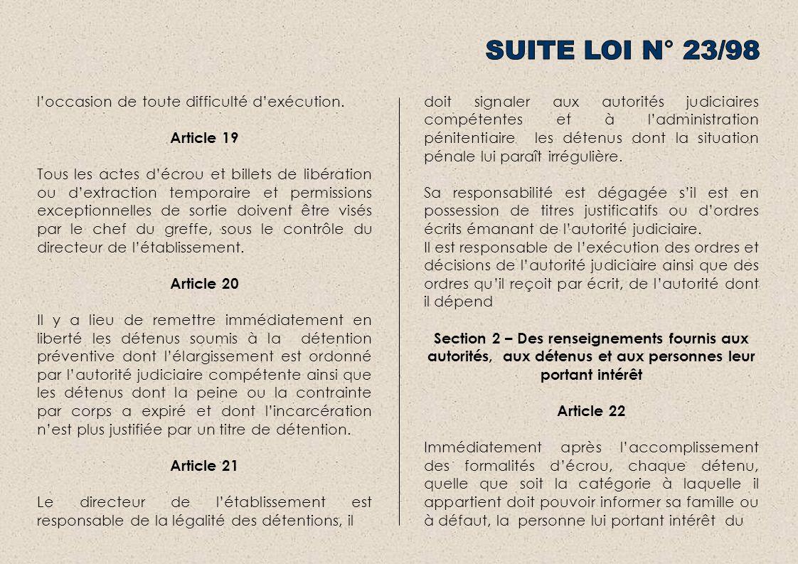 loccasion de toute difficulté dexécution. Article 19 Tous les actes décrou et billets de libération ou dextraction temporaire et permissions exception