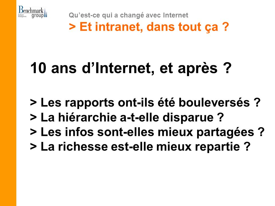 10 ans dInternet, et après ? > Les rapports ont-ils été bouleversés ? > La hiérarchie a-t-elle disparue ? > Les infos sont-elles mieux partagées ? > L