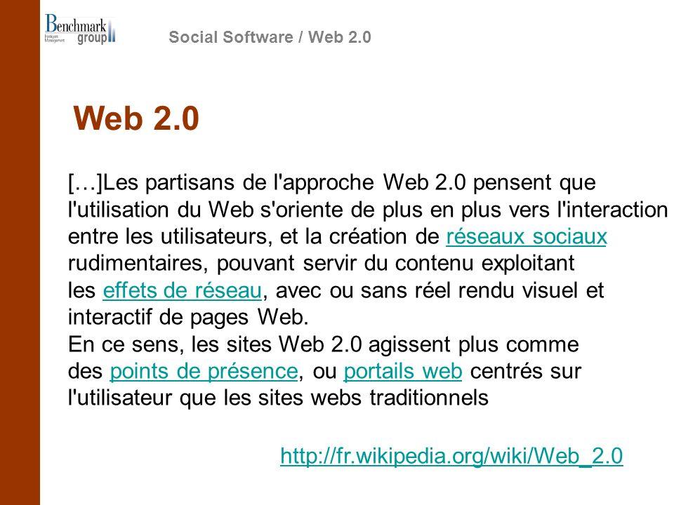 […]Les partisans de l approche Web 2.0 pensent que l utilisation du Web s oriente de plus en plus vers l interaction entre les utilisateurs, et la création de réseaux sociaux rudimentaires, pouvant servir du contenu exploitant les effets de réseau, avec ou sans réel rendu visuel et interactif de pages Web.