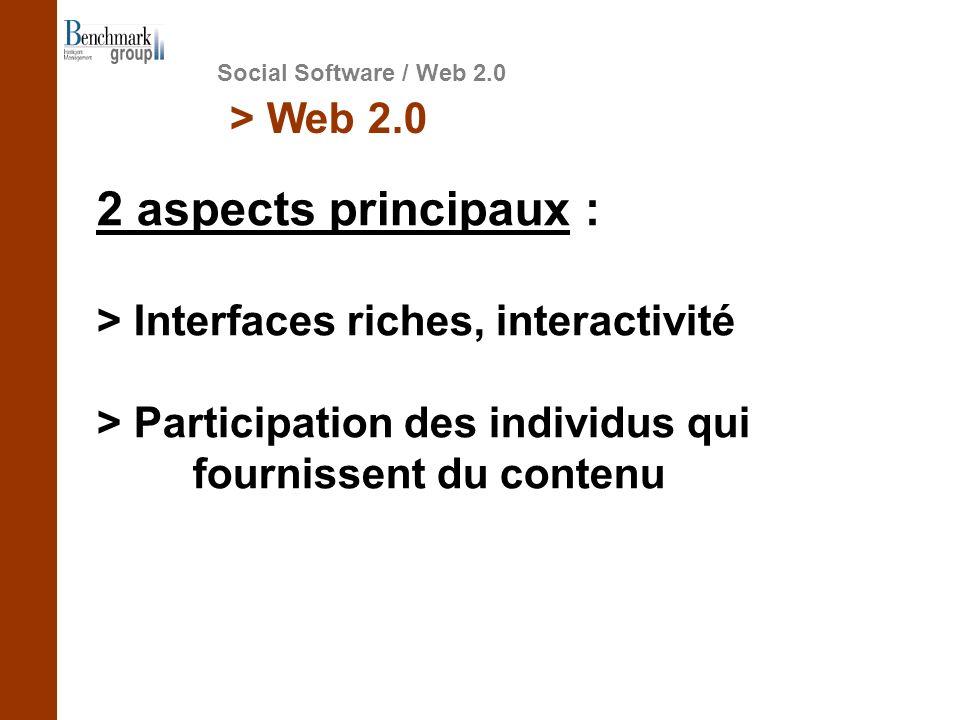 Social Software / Web 2.0 > Web 2.0 2 aspects principaux : > Interfaces riches, interactivité > Participation des individus qui fournissent du contenu