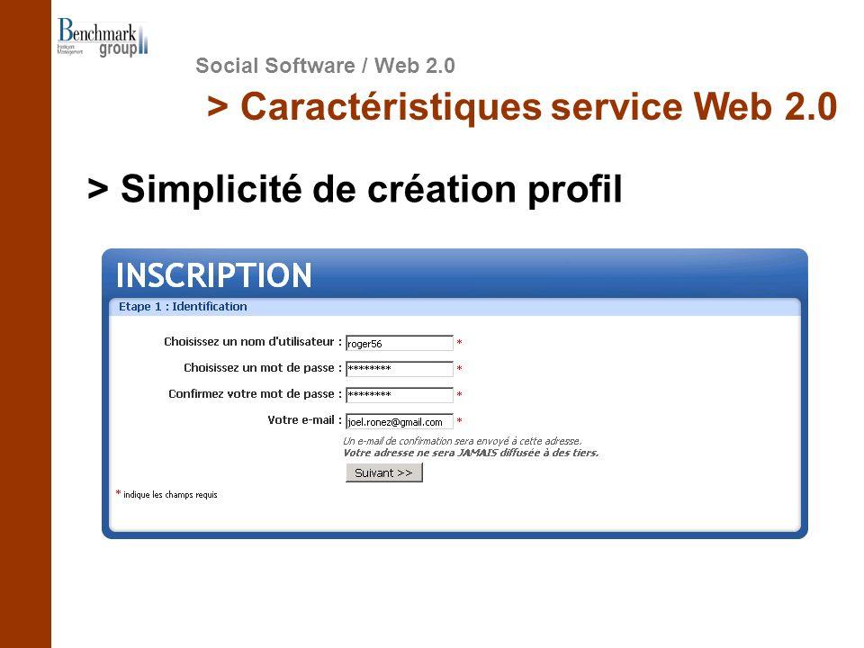 Social Software / Web 2.0 > Caractéristiques service Web 2.0 > Simplicité de création profil