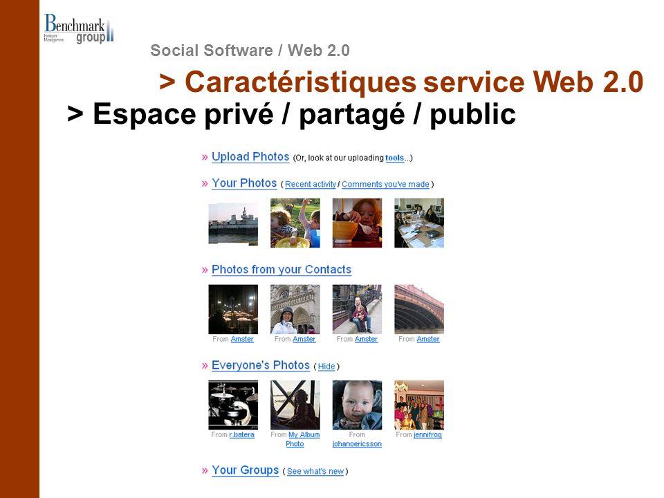 Social Software / Web 2.0 > Caractéristiques service Web 2.0 > Espace privé / partagé / public