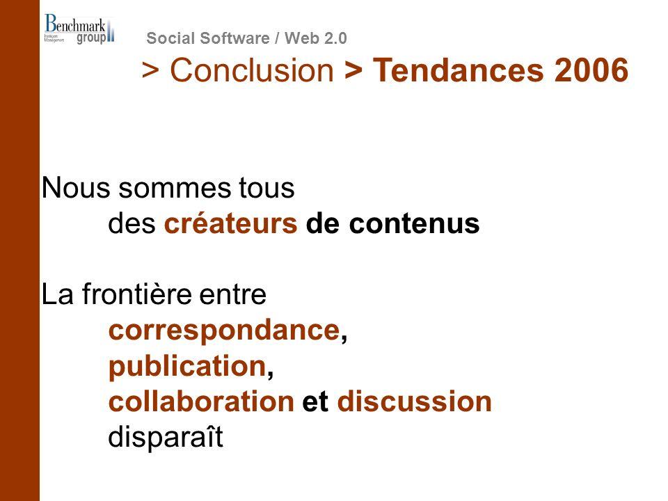 Nous sommes tous des créateurs de contenus La frontière entre correspondance, publication, collaboration et discussion disparaît > Conclusion > Tendan