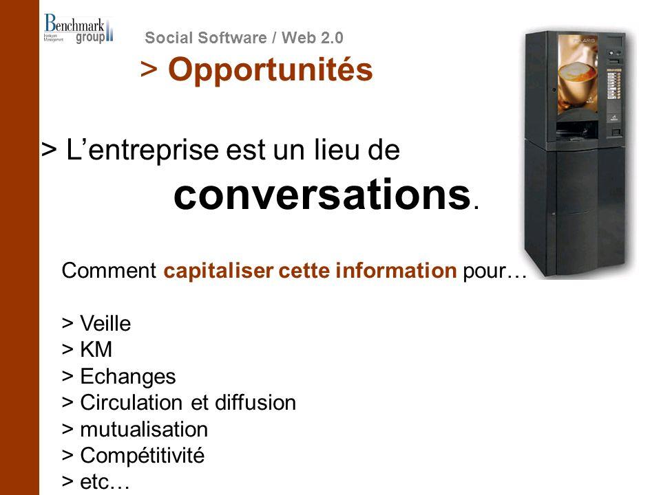 > Lentreprise est un lieu de conversations. > Opportunités Social Software / Web 2.0 Comment capitaliser cette information pour… > Veille > KM > Echan