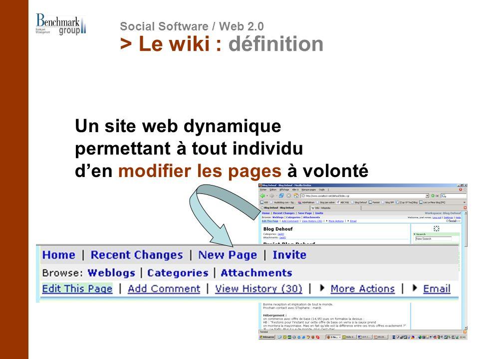 > Le wiki : définition Un site web dynamique permettant à tout individu den modifier les pages à volonté Social Software / Web 2.0
