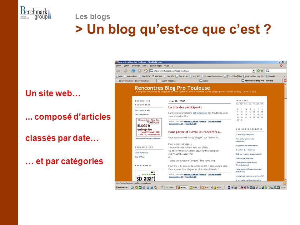 > Un blog quest-ce que cest ? Un site web…... composé darticles classés par date… … et par catégories Les blogs