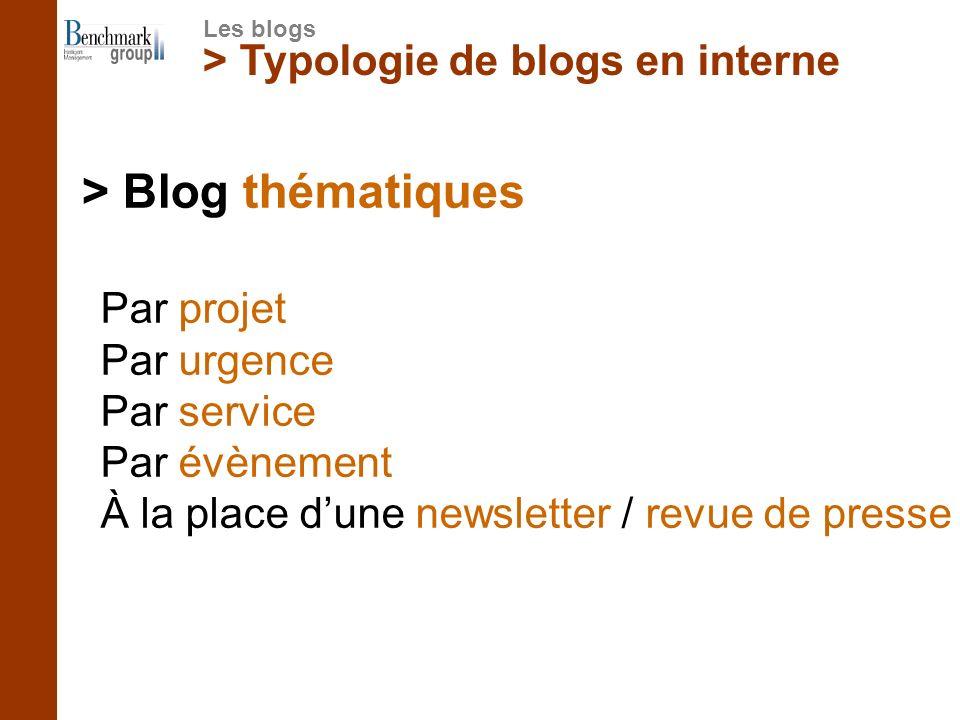 > Typologie de blogs en interne > Blog thématiques Les blogs Par projet Par urgence Par service Par évènement À la place dune newsletter / revue de pr