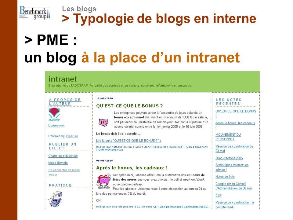 > Typologie de blogs en interne > PME : un blog à la place dun intranet Les blogs