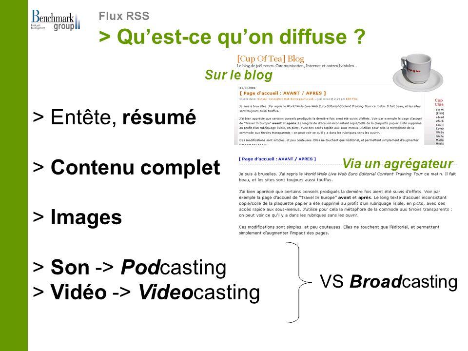 > Quest-ce quon diffuse ? Flux RSS > Entête, résumé > Contenu complet > Images > Son -> Podcasting > Vidéo -> Videocasting VS Broadcasting Sur le blog