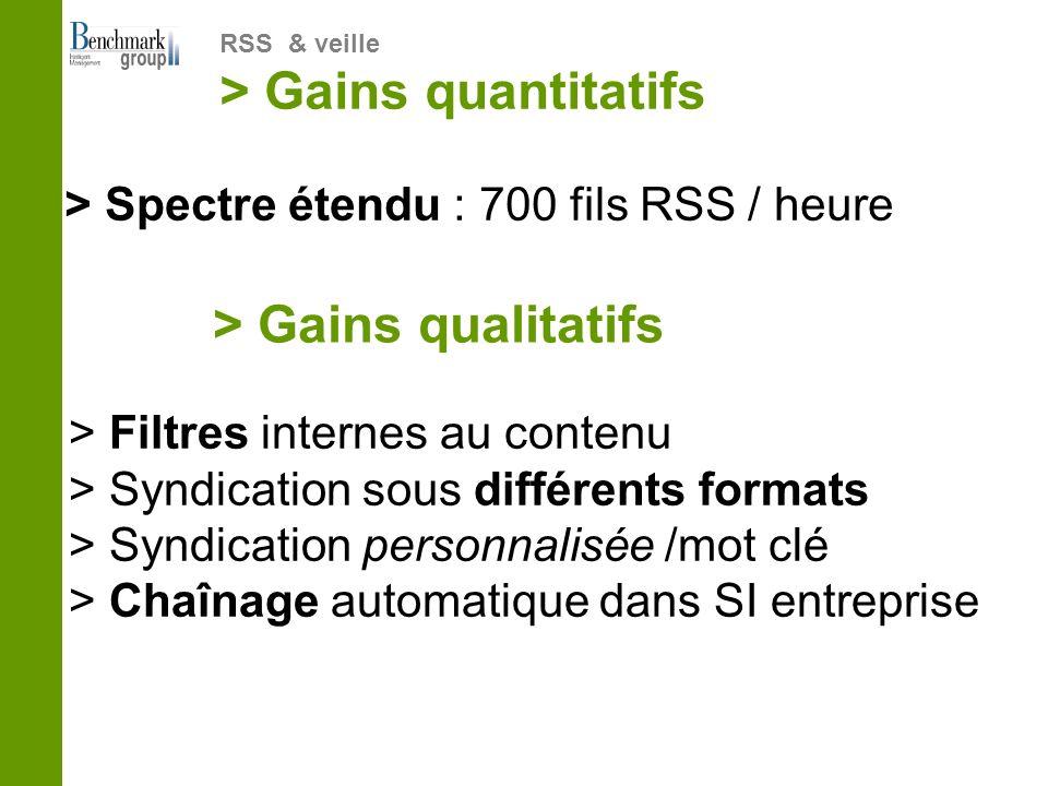 > Spectre étendu : 700 fils RSS / heure RSS & veille > Gains quantitatifs > Gains qualitatifs > Filtres internes au contenu > Syndication sous différe