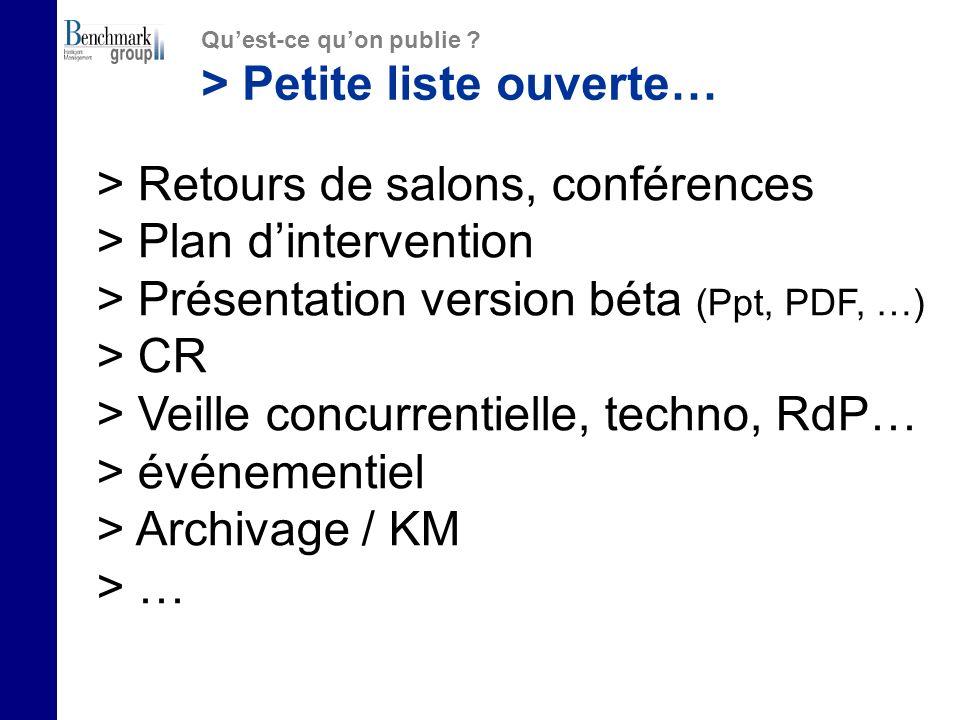 > Petite liste ouverte… > Retours de salons, conférences > Plan dintervention > Présentation version béta (Ppt, PDF, …) > CR > Veille concurrentielle, techno, RdP… > événementiel > Archivage / KM > …