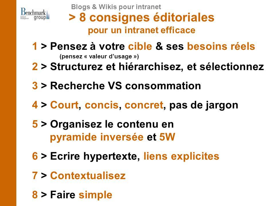 > 8 consignes éditoriales pour un intranet efficace 1 > Pensez à votre cible & ses besoins réels (pensez « valeur dusage ») 2 > Structurez et hiérarchisez, et sélectionnez 3 > Recherche VS consommation 4 > Court, concis, concret, pas de jargon 5 > Organisez le contenu en pyramide inversée et 5W 6 > Ecrire hypertexte, liens explicites 7 > Contextualisez 8 > Faire simple Blogs & Wikis pour intranet