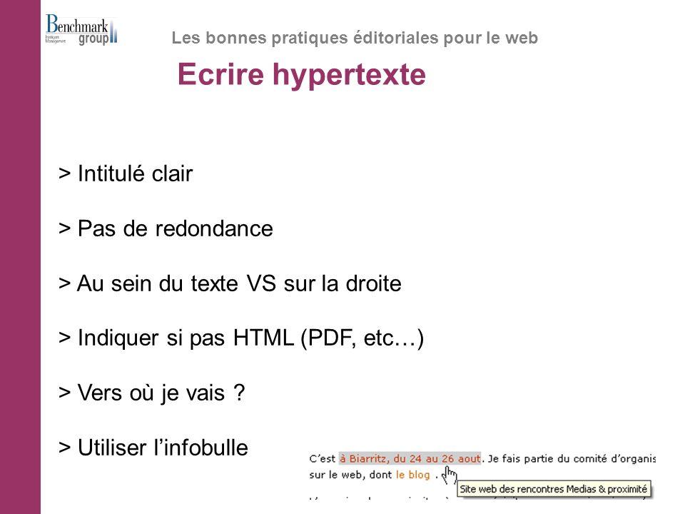 Ecrire hypertexte Les bonnes pratiques éditoriales pour le web > Intitulé clair > Pas de redondance > Au sein du texte VS sur la droite > Indiquer si pas HTML (PDF, etc…) > Vers où je vais .