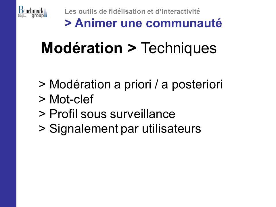 > Modération a priori / a posteriori > Mot-clef > Profil sous surveillance > Signalement par utilisateurs Modération > Techniques Les outils de fidélisation et dinteractivité > Animer une communauté