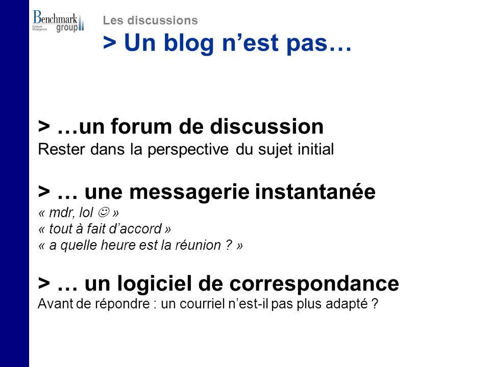 > …un forum de discussion Rester dans la perspective du sujet initial > … une messagerie instantanée « mdr, lol » « tout à fait daccord » « a quelle heure est la réunion .
