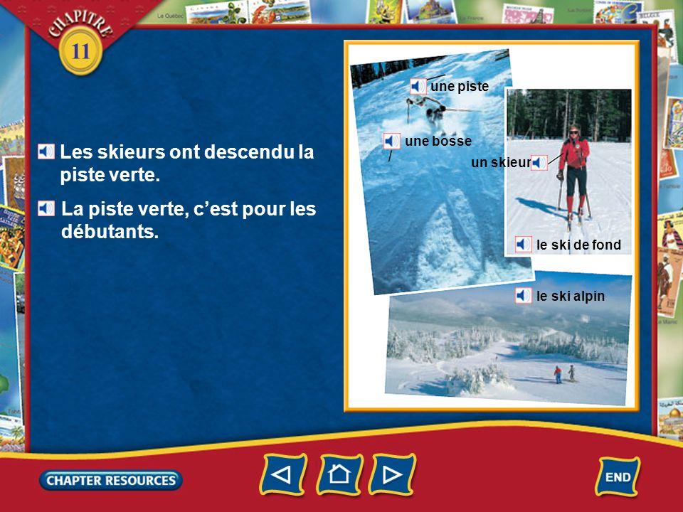 11 un bonnet une écharpe un anorak un bâton un ski une chaussure de ski un gant une skieuse
