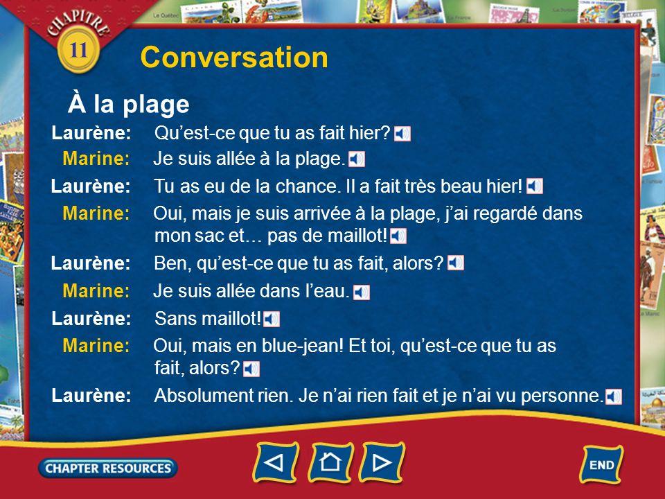 11 Conversation Laurène: Quest-ce que tu as fait hier.
