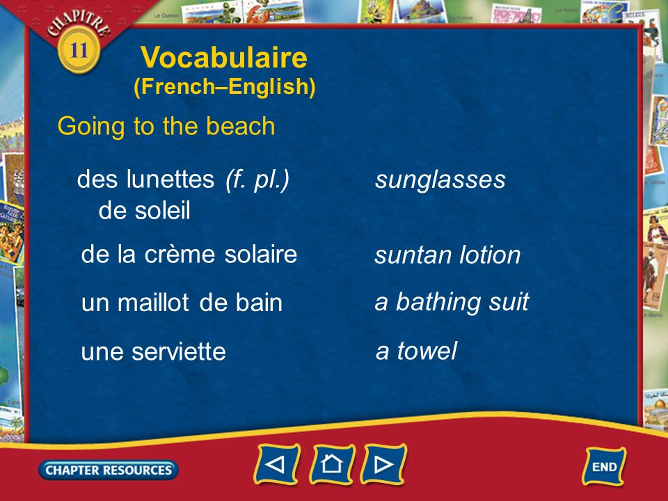 11 a seaside resort Vocabulaire Going to the beach une station balnéaire au bord de la mer la mer by the seaside the sea une plage a beach une vague a wave (French–English)