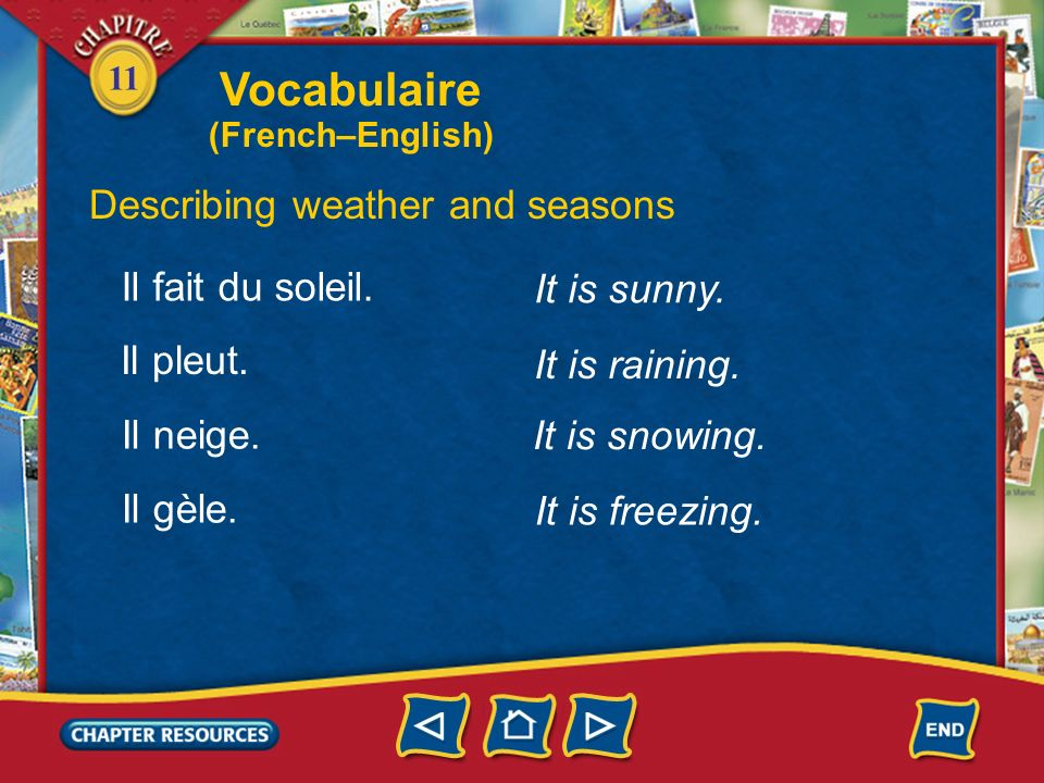 11 It is nice (weather). Describing weather and seasons Il fait beau.