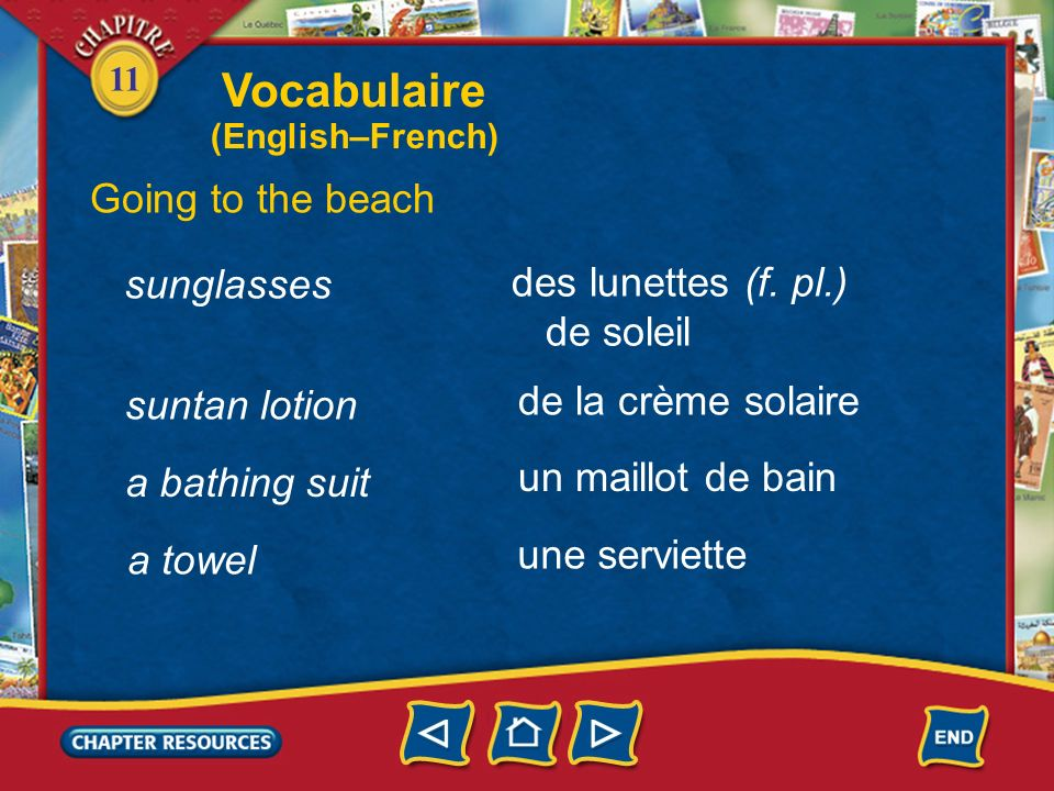 11 a seaside resort Vocabulaire Going to the beach une station balnéaire au bord de la mer la mer by the seaside the sea une plage a beach une vague a wave (English–French)