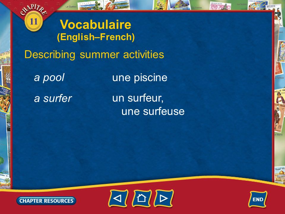 11 Describing summer activities faire une promenade la natation une leçon de natation un moniteur, une monitrice to take a walk swimming a swimming lesson an instructor Vocabulaire (English–French)