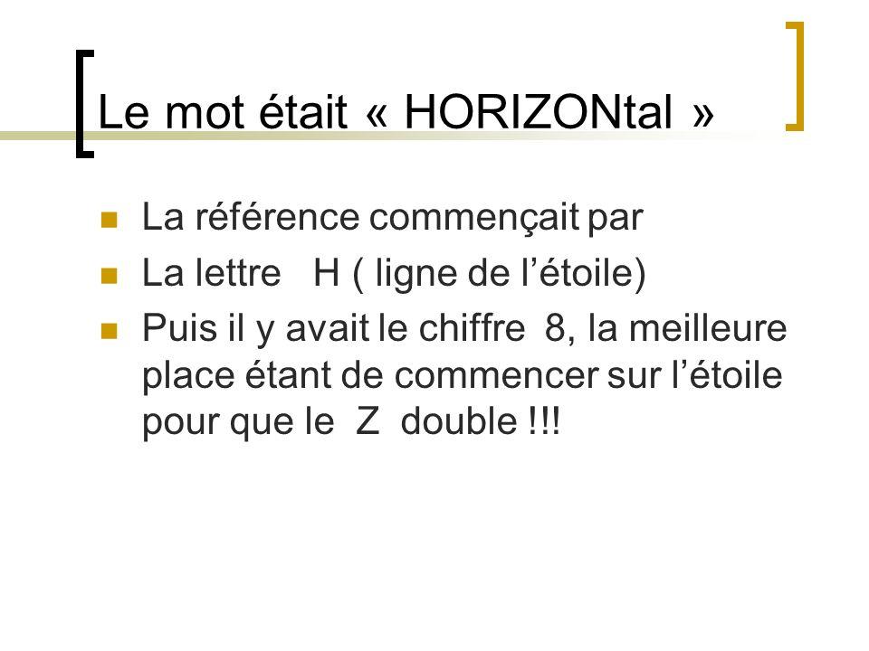 Le mot était « HORIZONtal » La référence commençait par La lettre H ( ligne de létoile) Puis il y avait le chiffre 8, la meilleure place étant de comm