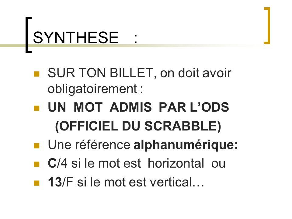 SYNTHESE : SUR TON BILLET, on doit avoir obligatoirement : UN MOT ADMIS PAR LODS (OFFICIEL DU SCRABBLE) Une référence alphanumérique: C/4 si le mot es