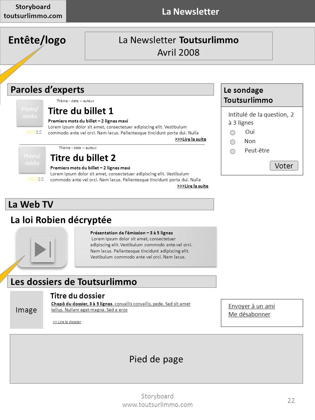 Entête/logo Pied de page Storyboard toutsurlimmo.com La Newsletter Storyboard www.toutsurlimmo.com 22 Branding Toutsurlimmo ou bien C21 selon le site