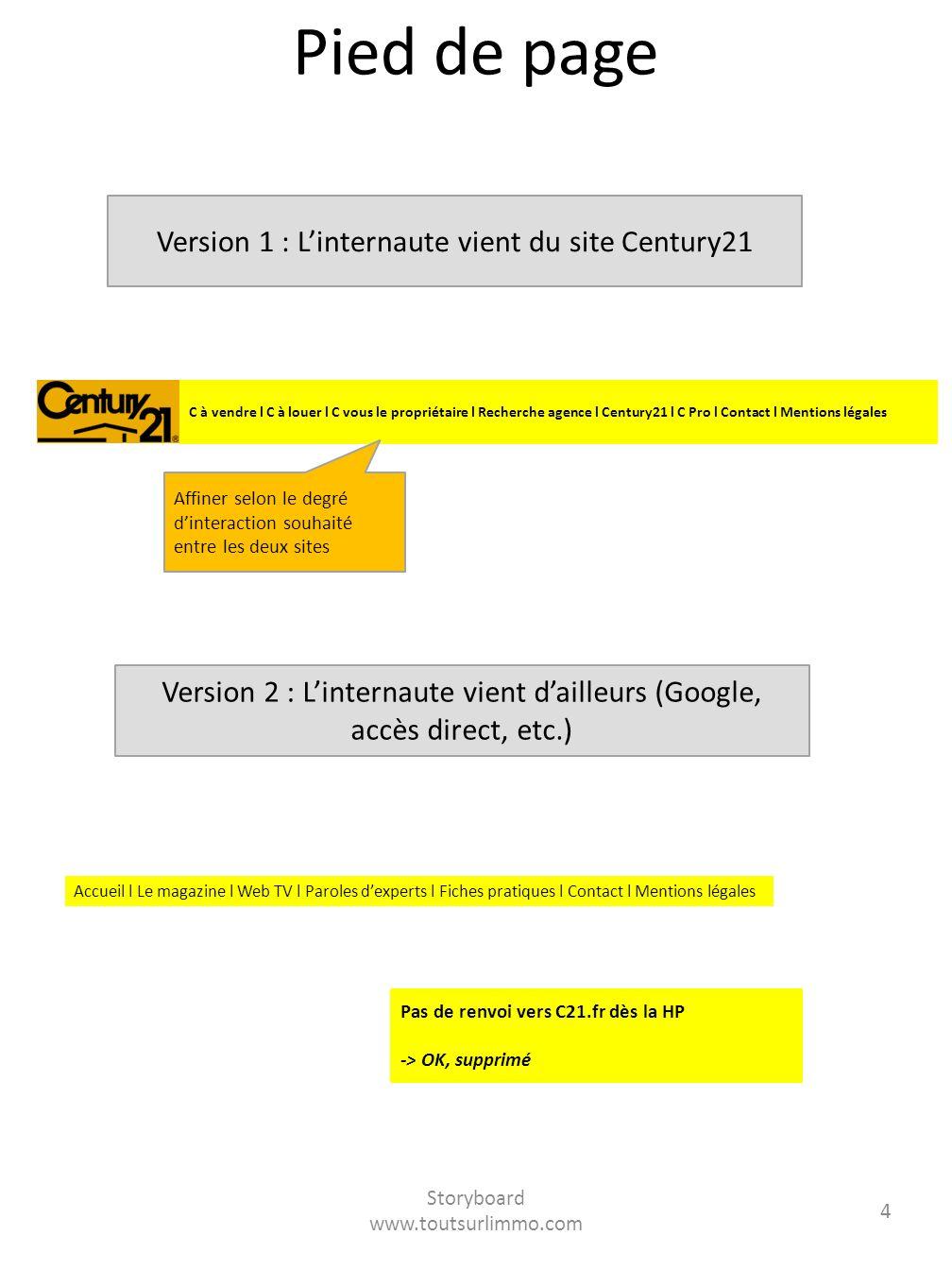 Storyboard www.toutsurlimmo.com 4 Pied de page Version 1 : Linternaute vient du site Century21 Version 2 : Linternaute vient dailleurs (Google, accès