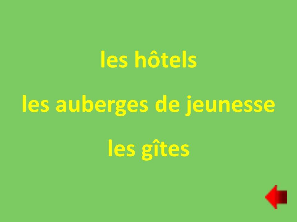 les hôtels les auberges de jeunesse les gîtes