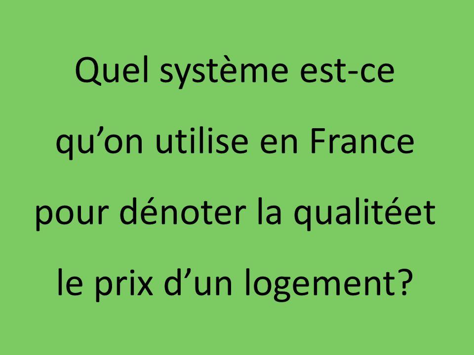 Quel système est-ce quon utilise en France pour dénoter la qualitéet le prix dun logement?