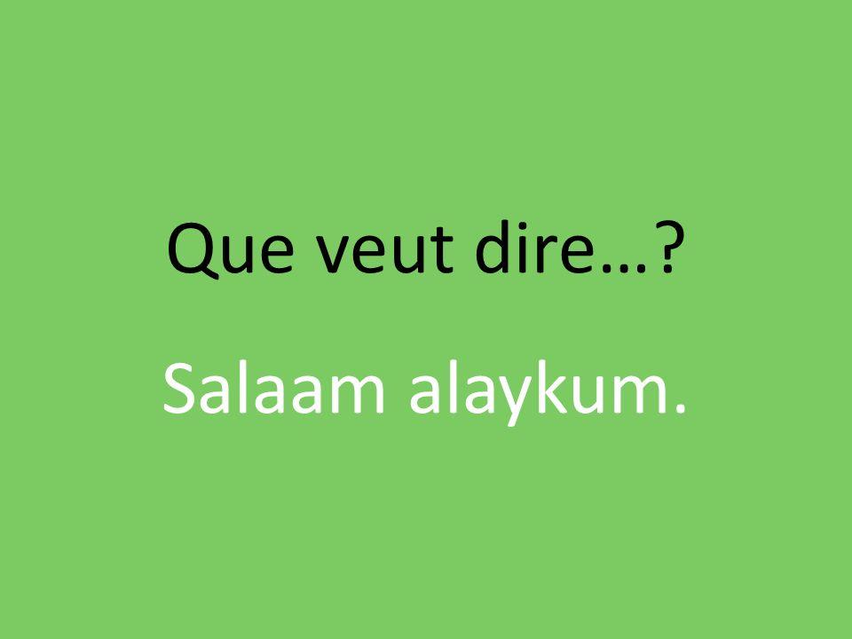 Que veut dire…? Salaam alaykum.