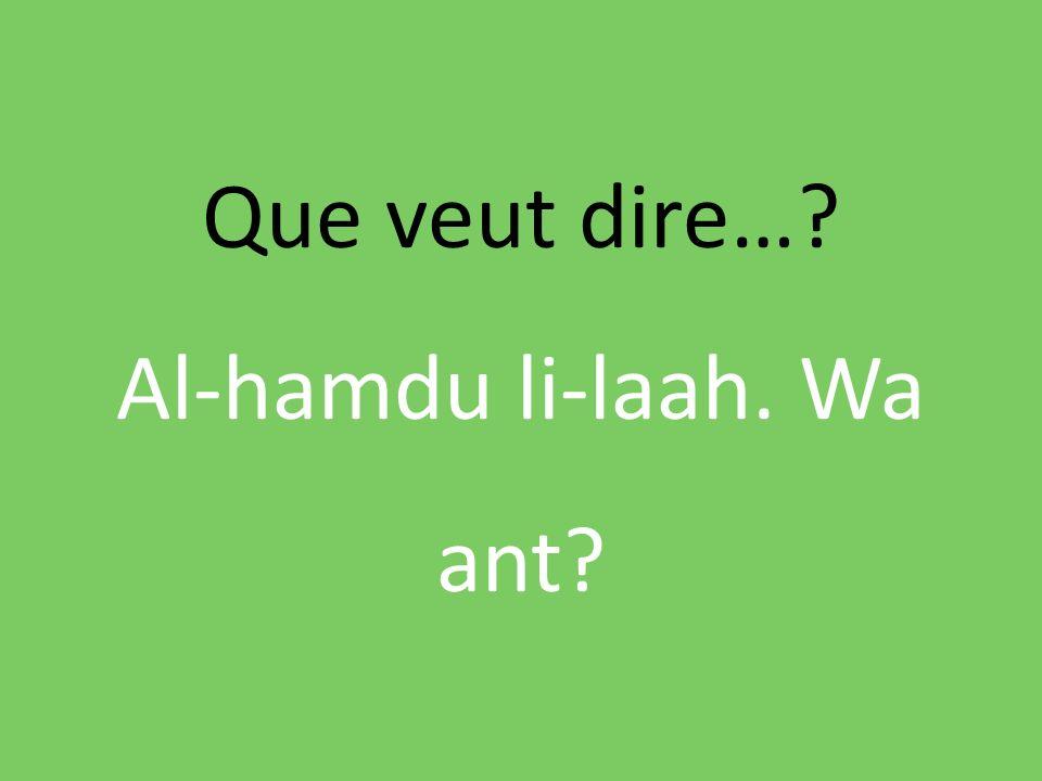 Que veut dire…? Al-hamdu li-laah. Wa ant?