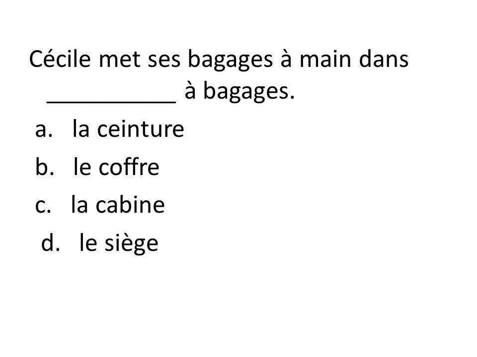 Cécile met ses bagages à main dans __________ à bagages. a. la ceinture b. le coffre c. la cabine d. le siège