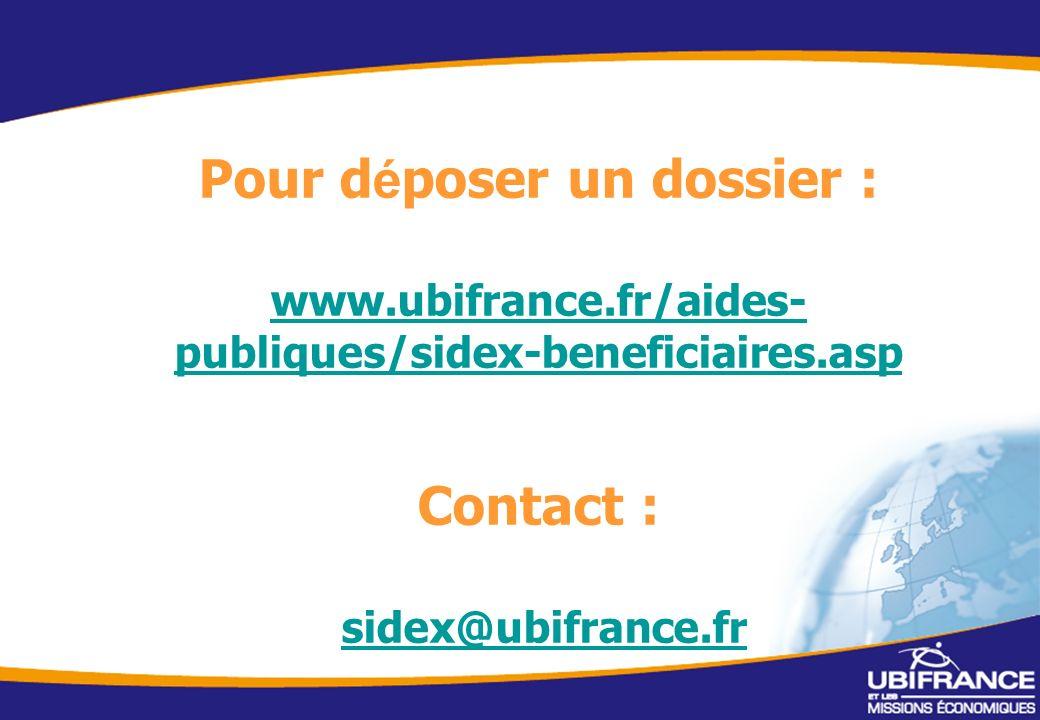 10 Pour d é poser un dossier : www.ubifrance.fr/aides- publiques/sidex-beneficiaires.asp Contact : sidex@ubifrance.fr www.ubifrance.fr/aides- publiques/sidex-beneficiaires.asp sidex@ubifrance.fr