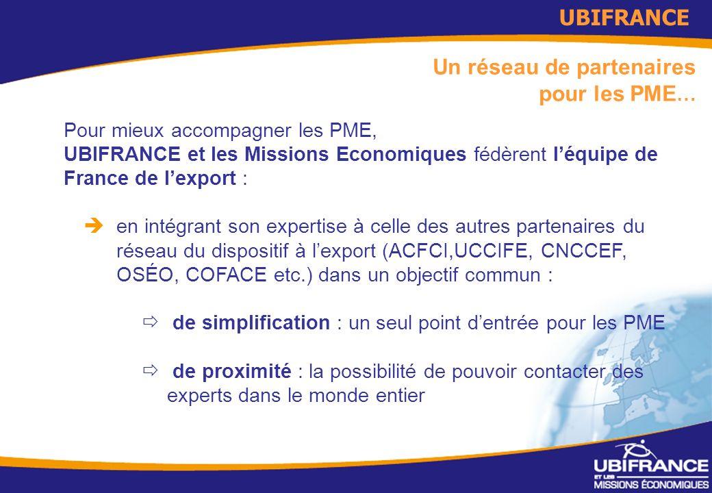 4 Un réseau de partenaires pour les PME … Pour mieux accompagner les PME, UBIFRANCE et les Missions Economiques fédèrent léquipe de France de lexport : en intégrant son expertise à celle des autres partenaires du réseau du dispositif à lexport (ACFCI,UCCIFE, CNCCEF, OSÉO, COFACE etc.) dans un objectif commun : de simplification : un seul point dentrée pour les PME de proximité : la possibilité de pouvoir contacter des experts dans le monde entier UBIFRANCE