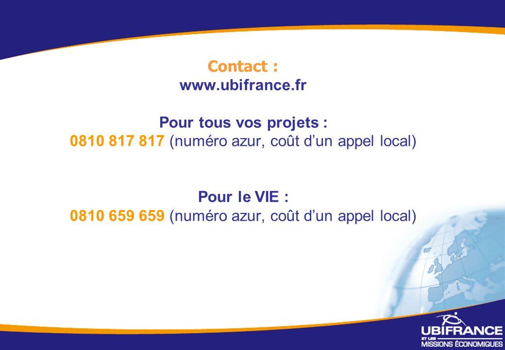 7 Contact : www.ubifrance.fr Pour tous vos projets : 0810 817 817 (numéro azur, coût dun appel local) Pour le VIE : 0810 659 659 (numéro azur, coût dun appel local)