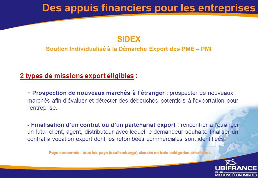8 SIDEX Soutien Individualisé à la Démarche Export des PME – PMI 2 types de missions export éligibles : - Prospection de nouveaux marchés à létranger : prospecter de nouveaux marchés afin dévaluer et détecter des débouchés potentiels à lexportation pour lentreprise.