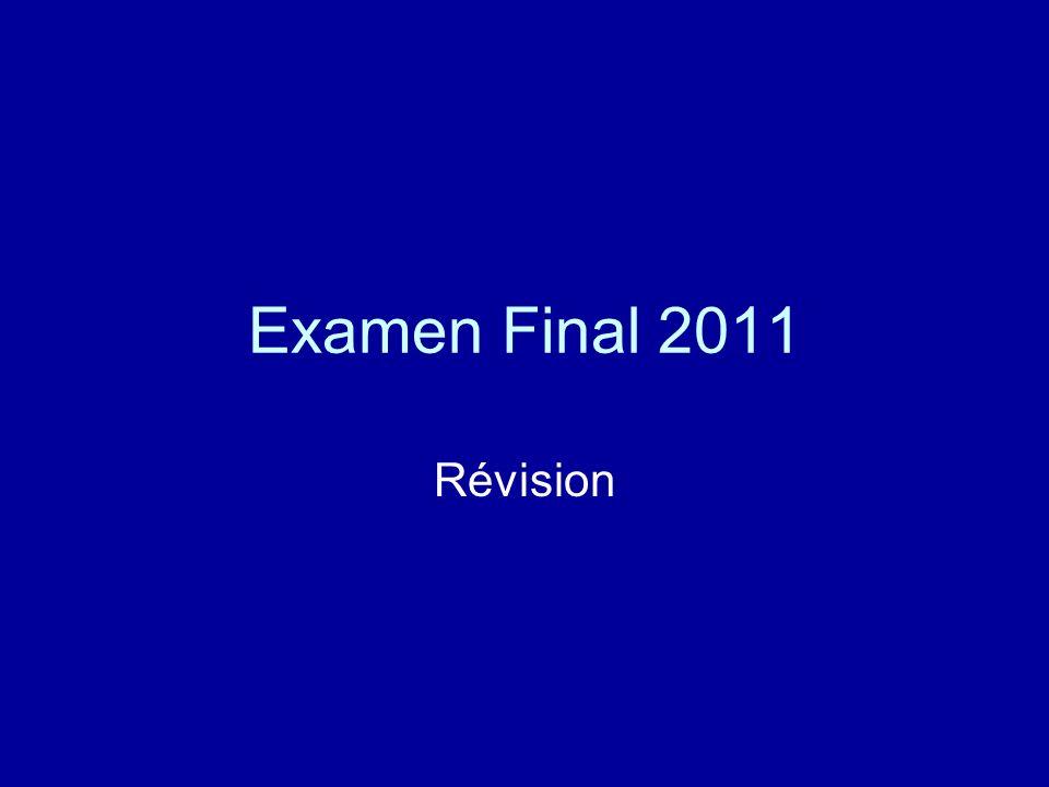 Examen Final 2011 Révision