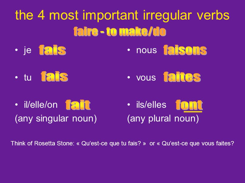 the 4 most important irregular verbs je tu il/elle/on (any singular noun) nous vous ils/elles (any plural noun) Think of Rosetta Stone: « Quest-ce que tu fais.