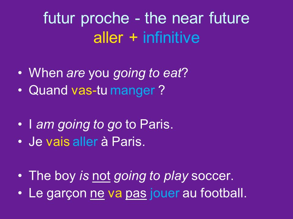 futur proche - the near future aller + infinitive When are you going to eat.